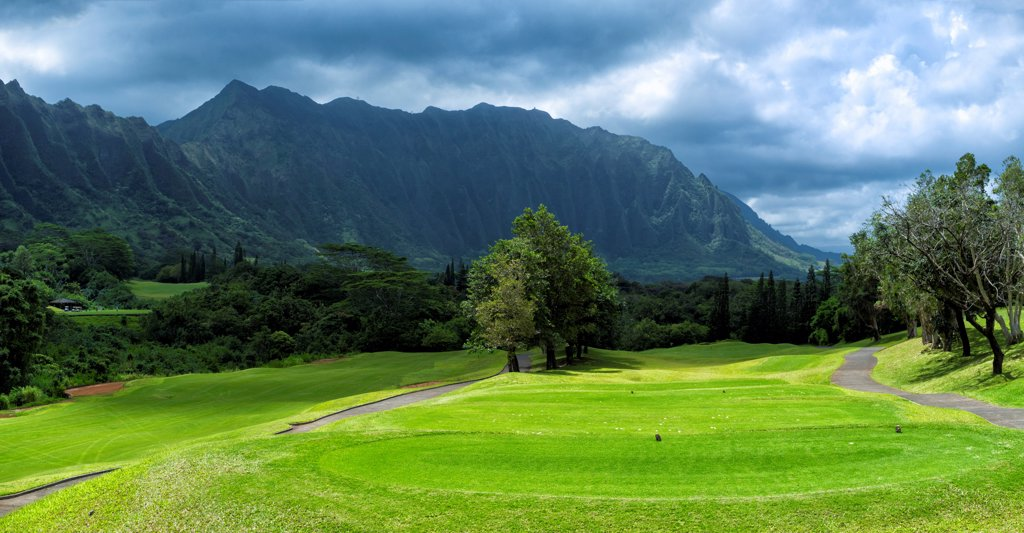 Stock Photo: 2117-588600 Hawaii, Kaneohe, Panorama of Ko'olau Golf Club near Ko'olau Range