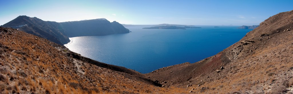 Greece, Santorini, Panorama of caldera : Stock Photo