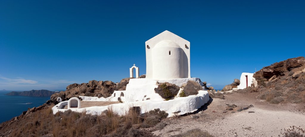 Stock Photo: 2117-588678 Greece, Santorini, Panorama of Church of St. George on caldera