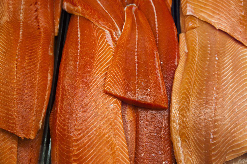 Canada, British Columbia, Close up of fresh salmon slices at Granville Public Market : Stock Photo