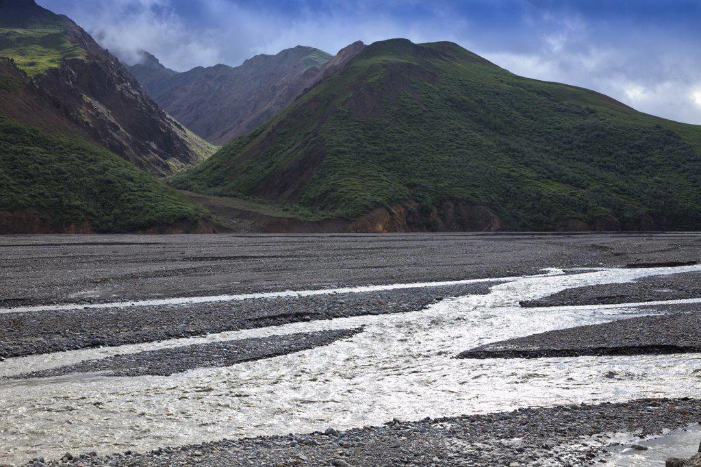 USA, Alaska, Braided Toklat River in Denali National Park : Stock Photo