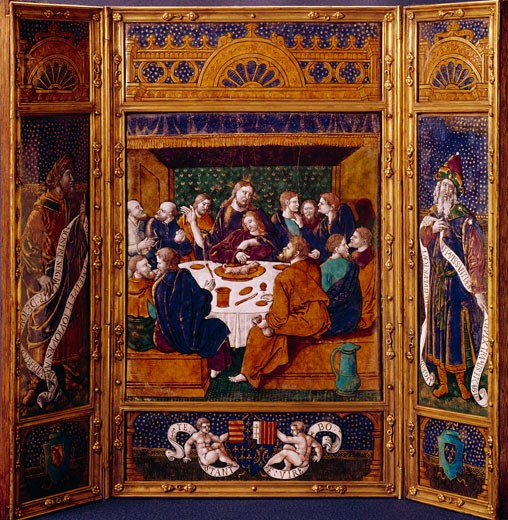 Stock Photo: 2120-471803 Triptych of the Last Supper by Jean Penicaud I,  enamel,  16th century,  France,  Nimes,  Musee des Artes Decoratifs