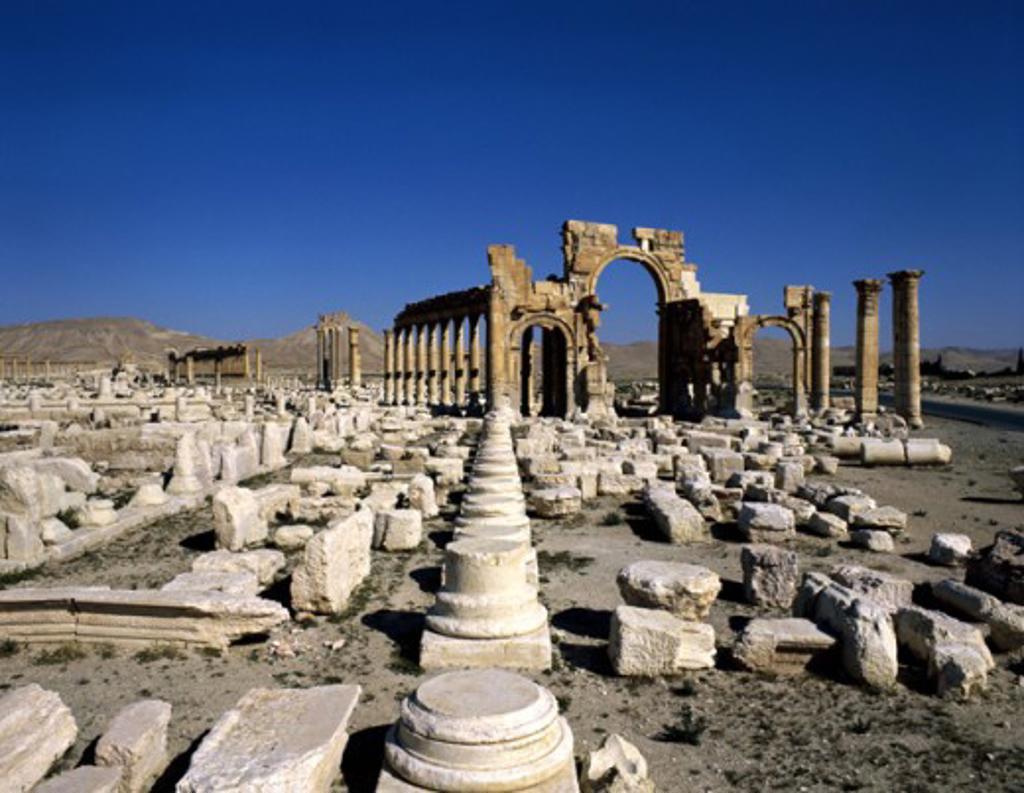 Stock Photo: 2120-501776 Monumental Arch Palmyra Syria