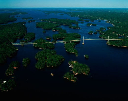 Aerial view of St. Lawrence Islands National Park, Thousand Islands, Ontario, Canada : Stock Photo