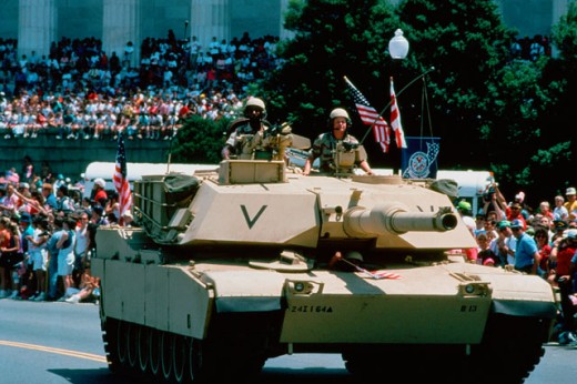 Stock Photo: 214-438 Washington D.C. -1A1 Ambrams Main Battle Tank During The National Victory Celebration After The Liberation of Kuwait
