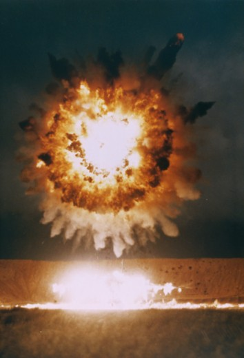 Stock Photo: 214-566 San Clemente Is.. Ca.. The Explosion From A BGM-109 Tomahawk Missle As It Destroys Its Target During A Test