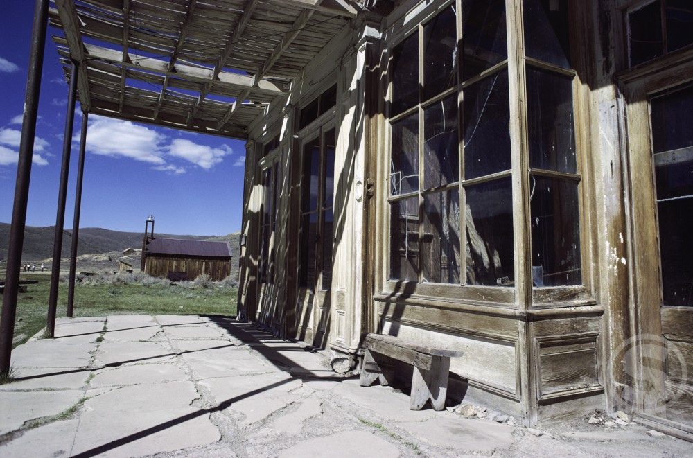 Low angle view of a building at Bodie State Historic Park, California, USA : Stock Photo