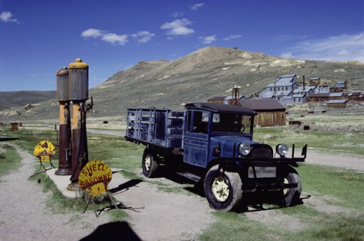 Truck at a gas station, Bodie State Historic Park, California, USA : Stock Photo
