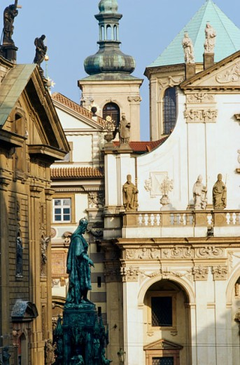 Statues on buildings, Prague, Czech Republic : Stock Photo