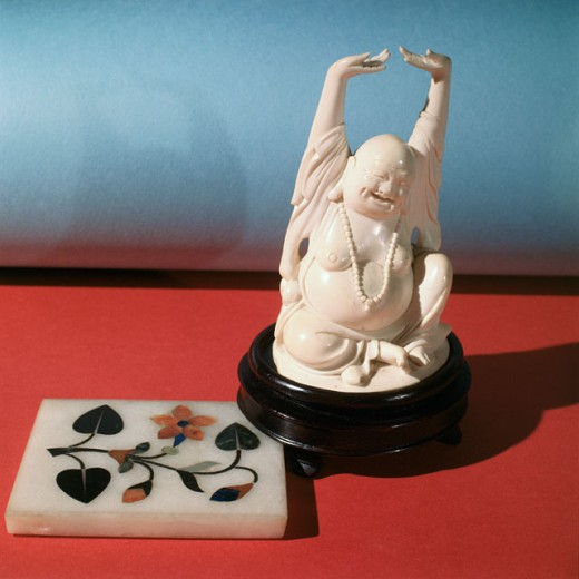 Stock Photo: 2145-134329 Hotei, God Of Good Fortune With Inlaid Marble Chinese Art