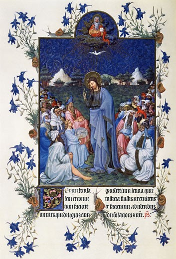 Stock Photo: 2145-514639 Book of Hours: Feeding the Multitudes ca.1408-9 Limbourg Brothers (fl. 1400-1416 Netherlandish) Illuminated manuscript