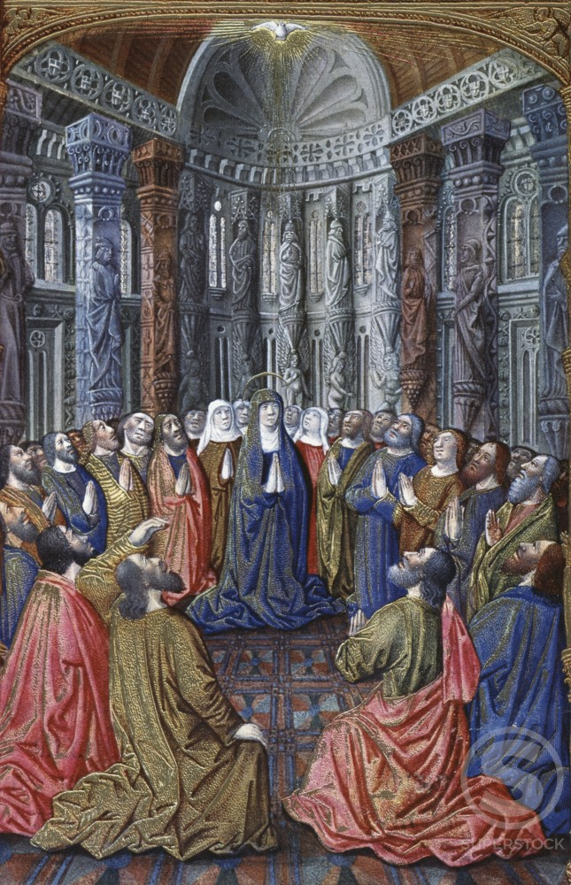Stock Photo: 2145-514640 Book of Hours: The Pentecost c. 1408-1409 Limbourg Brothers (fl. 1400-1416 Netherlandish) Ilumination Metropolitan Museum of Art, New York City