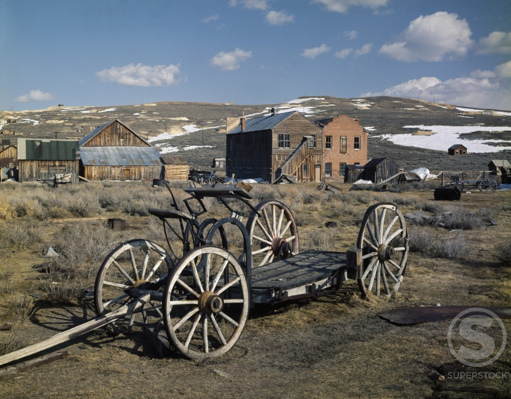 Stock Photo: 2154-454191 Cart in a ghost town, Bodie, California, USA