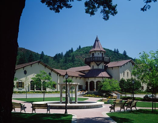Stock Photo: 2154-574001 Facade of a building, Chateau St. Jean Winery, Kenwood, California, USA