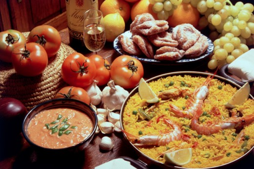 Paella, Salmonejo and Pestino, Spanish Cuisine : Stock Photo