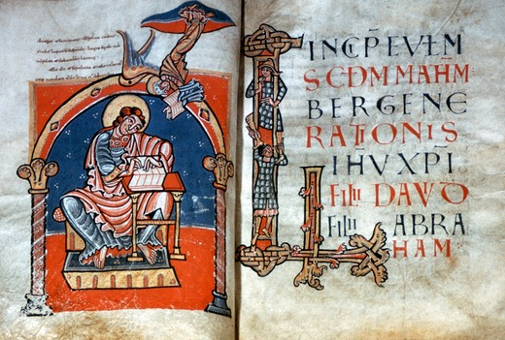 Stock Photo: 2180-486353 Carolingian Bible: St. Matthew's Gospel, illuminated manuscript, Italy, Rome, Basilica of Saint Paul Outside the Walls