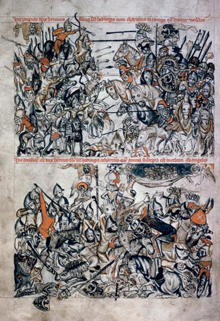 Stock Photo: 2180-486354 Hedwig Codex: Battle Of Duke Of Henri & Tartars  Manuscripts(- ) Manuscript