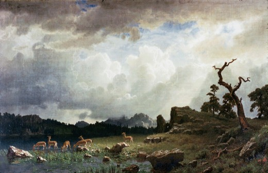 Thunderstorm in the Rocky Mountains Albert Bierstadt (1830-1902 American) : Stock Photo