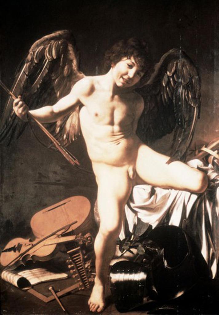 Stock Photo: 2180-499652 Amour Victorious 1602-03 Michelangelo M. da Caravaggio (1571-1610 Italian) Staatliche Museen Preussischer Kulturbesitz (Gemaldegalerie) Berlin, Germany