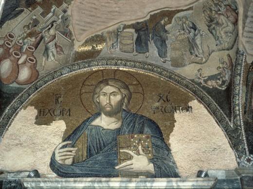 Christ Pantocrator 14th C Byzantine Art 330 AD-1435 Hagia Sophia, Istanbul, Turkey  : Stock Photo