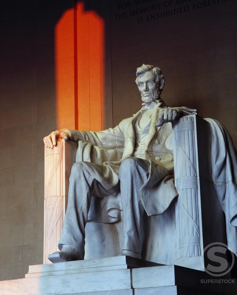 Statue of Abraham Lincoln in a memorial, Lincoln Memorial, Washington DC, USA : Stock Photo