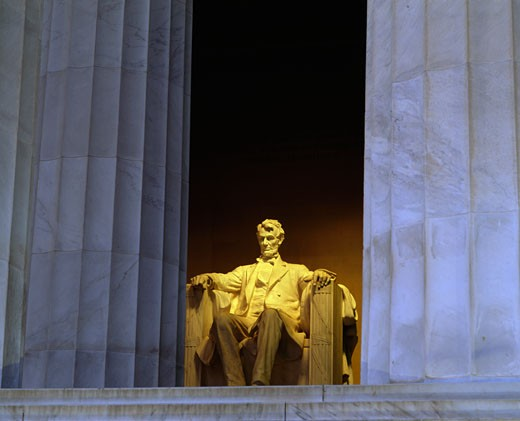 Statue of Abraham Lincoln in a memorial, Lincoln Memorial, Washington DC, USA : Stock Photo