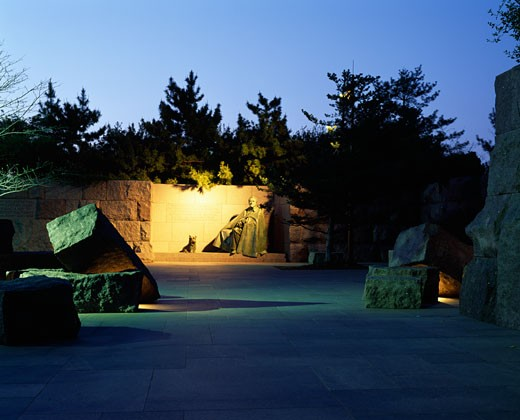 Memorial in a park, Franklin Delano Roosevelt Memorial, Washington DC, USA : Stock Photo