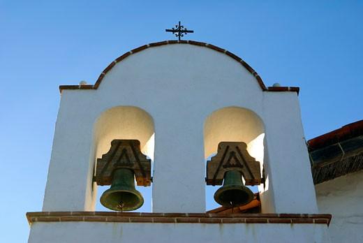 Stock Photo: 22-10740 Low angle view of a bell tower of a church, Presidio of Santa Barbara, Santa Barbara, California, USA