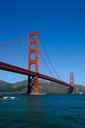 Suspension bridge across a bay, Golden Gate Bridge, San Francisco, California, USA : Stock Photo