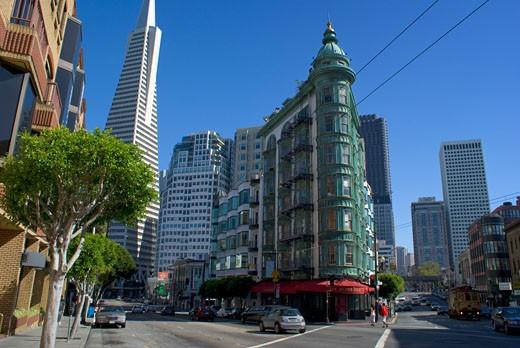 Stock Photo: 22-10760A Buildings in a city, Transamerica Pyramid, Columbus Tower, San Francisco, California, USA