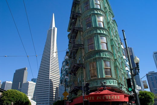 Low angle view of buildings, Transamerica Pyramid, Columbus Tower, San Francisco, California, USA : Stock Photo
