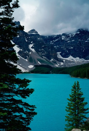 Stock Photo: 2226-255A Panoramic view of Lake Moraine, Banff National Park, Alberta, Canada
