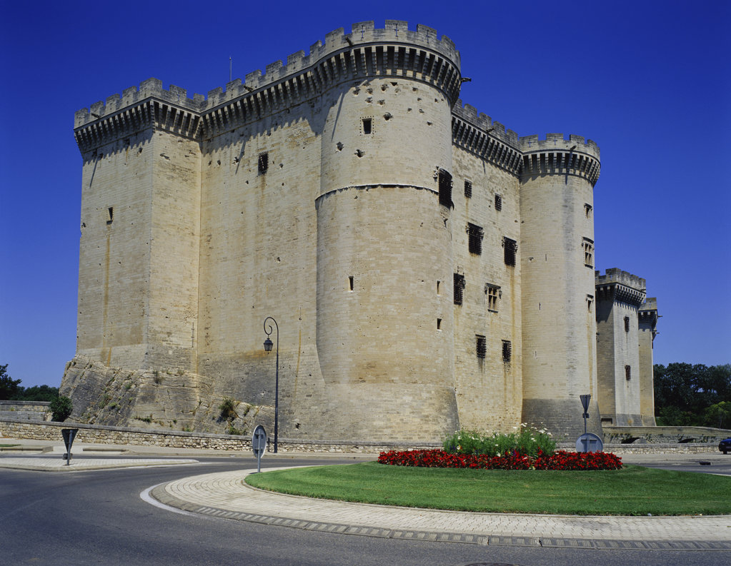 Low angle view of a castle, Chateau de Tarascon, Tarascon, France : Stock Photo