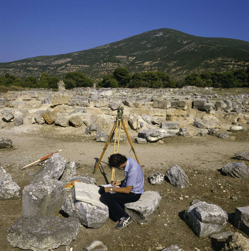 Stock Photo: 2231-586723 Archeologist in The Tholos