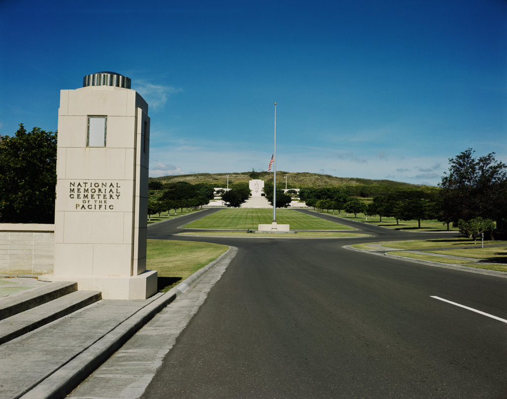 Stock Photo: 2252-489552 Cemetery along a road, National Memorial Cemetery of the Pacific, Honolulu, Oahu, Hawaii, USA