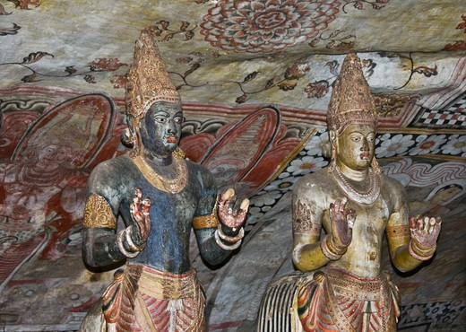 Statues in a temple, Dambulla Cave Temple, Dambulla, Sri Lanka : Stock Photo