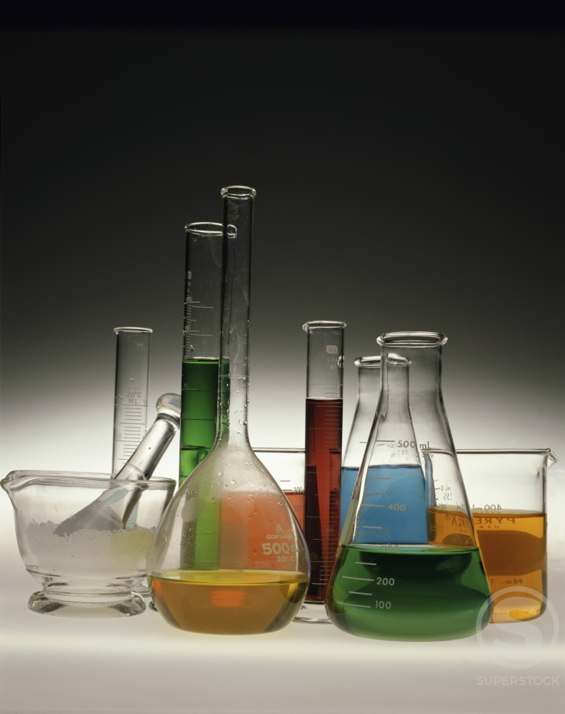 Stock Photo: 230-339 Close-up of laboratory glassware