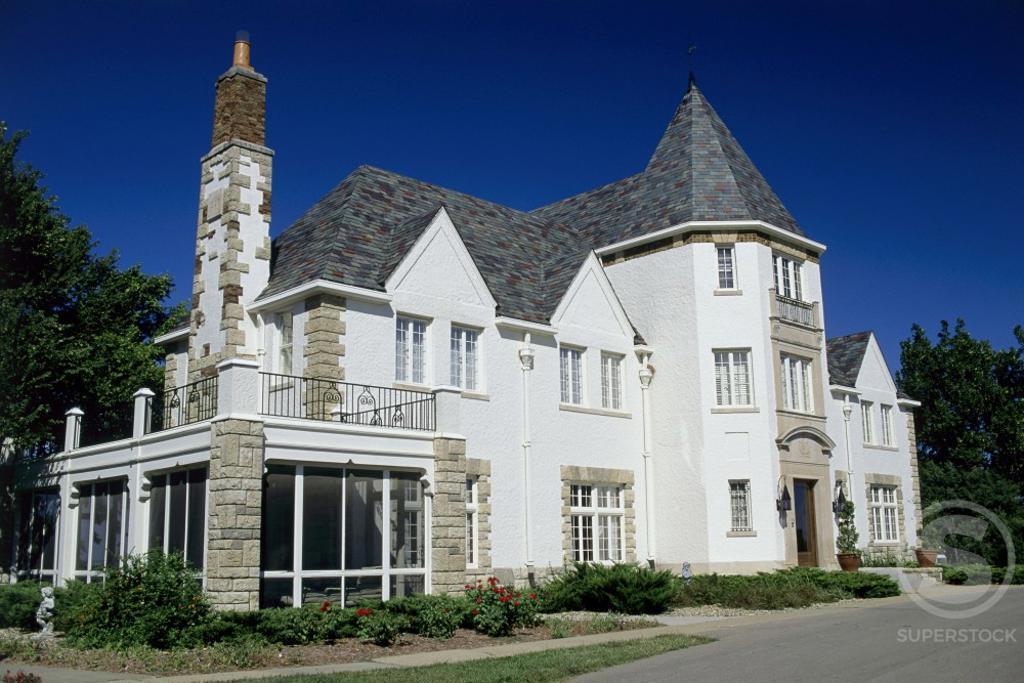 Facade of a mansion, Governor's Mansion, Topeka, Kansas, USA : Stock Photo
