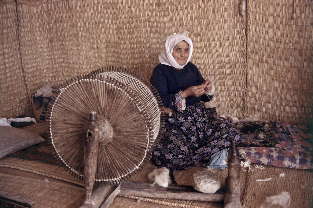 Stock Photo: 2529-208 Spinning Wool Yarn Cukurkoy Turkey