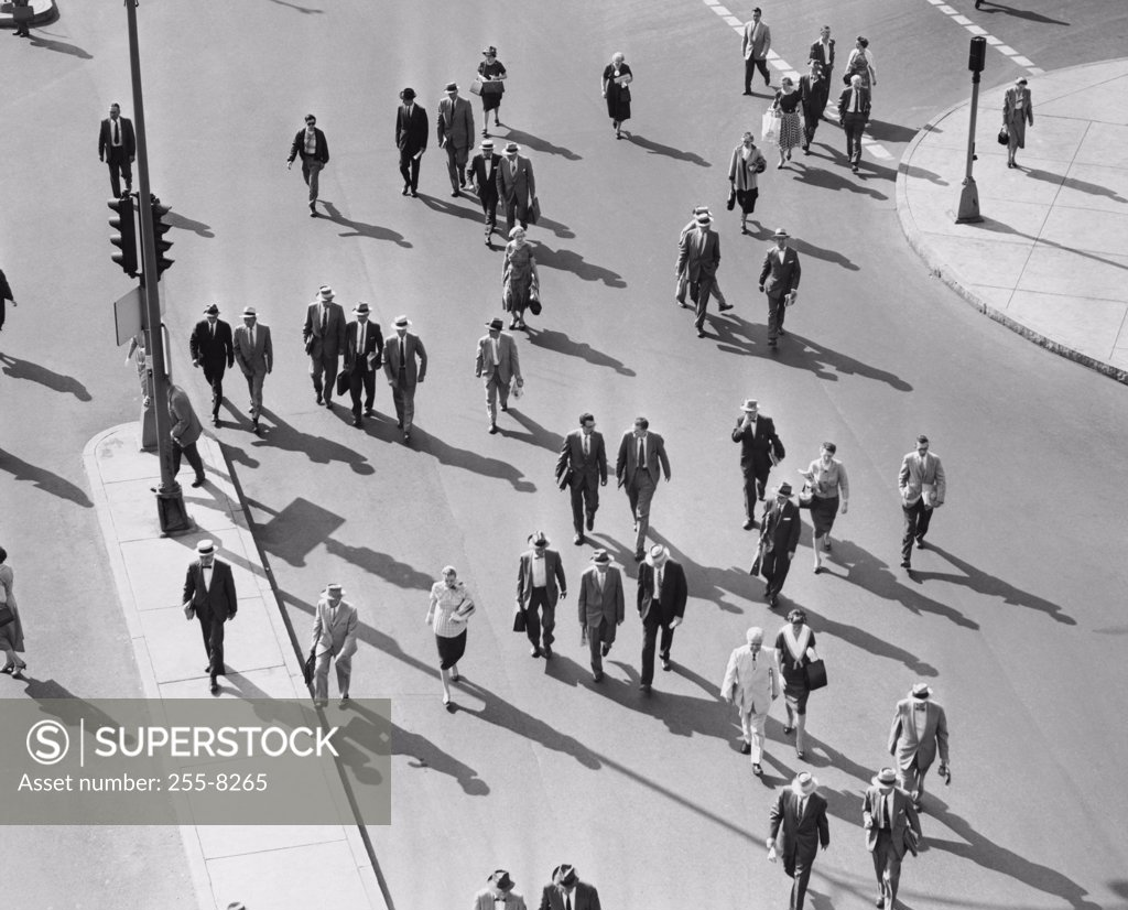 Stock Photo: 255-8265 High angle view of a group of people walking in a city street