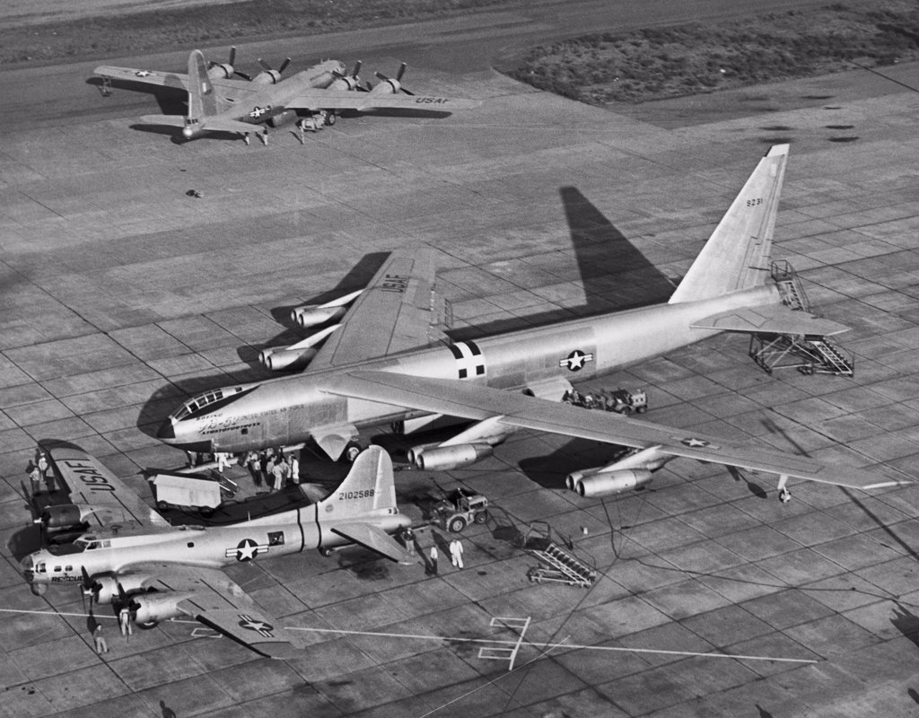 Stock Photo: 255-11541 High angle view of two military airplanes on a military base, B-52 Stratofortress, Boeing SB-17, B-50 Superfortress