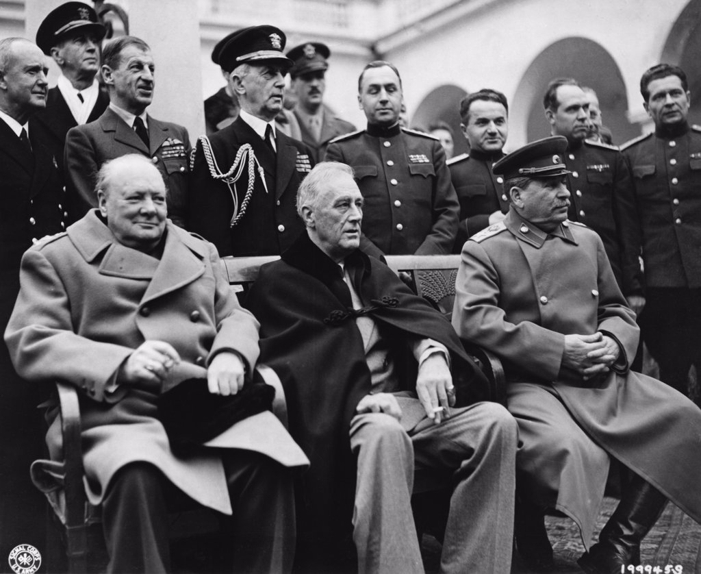 Winston Churchill, Franklin D. Roosevelt and Joseph Stalin, Yalta Conference, Crimea, USSR, February 4-11, 1945 : Stock Photo