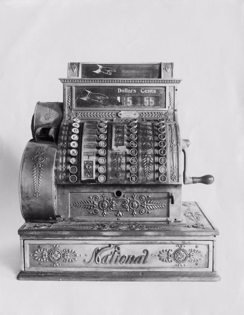 Stock Photo: 255-14314 Close-up of an antique cash register