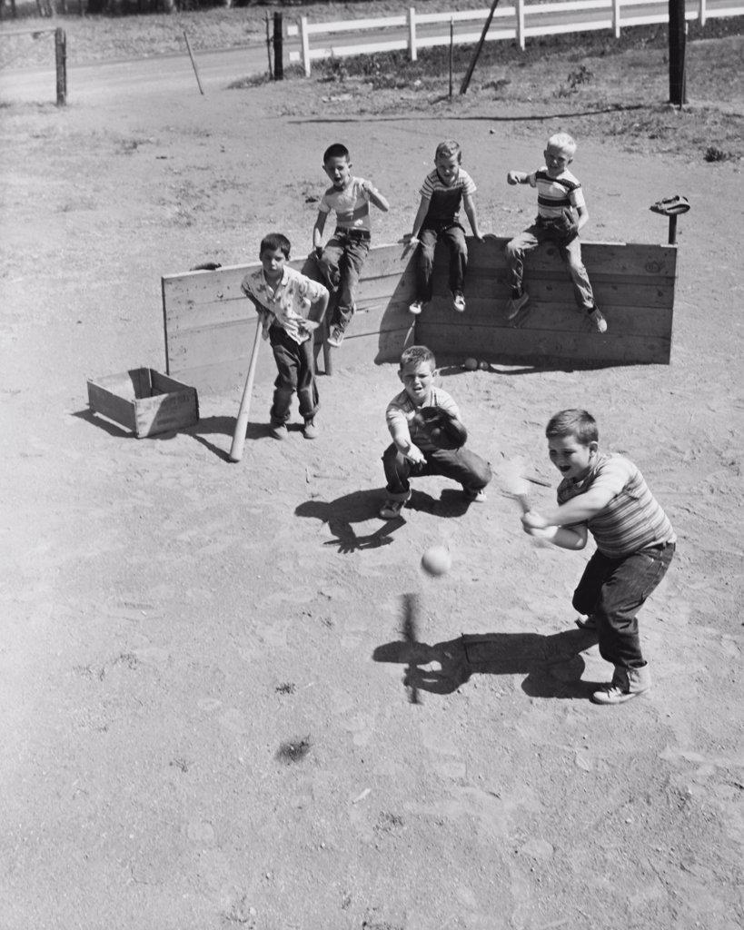 Stock Photo: 255-14797 High angle view of a group of boys playing baseball