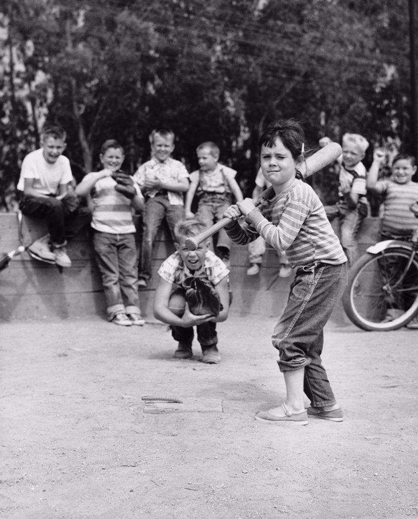Stock Photo: 255-14805 Group of boys playing baseball