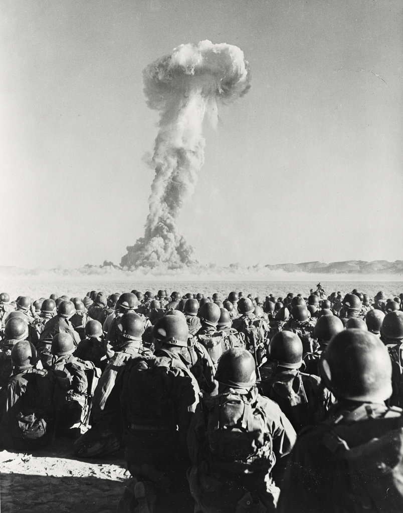 Stock Photo: 255-1598 Atomic bomb testing in a desert, Camp Desert Rock, Las Vegas, Nevada, USA