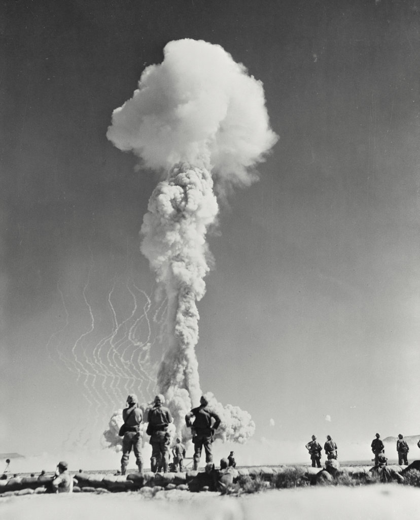 Atomic bomb testing in a desert, Nevada, USA : Stock Photo