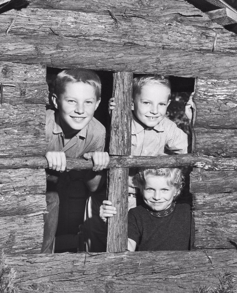 Close-up of three children looking through the window of a playhouse : Stock Photo