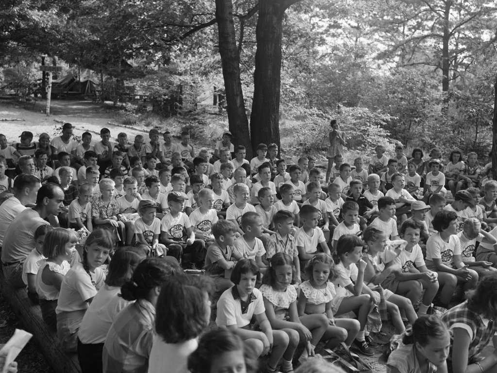 Group of children at a summer camp : Stock Photo
