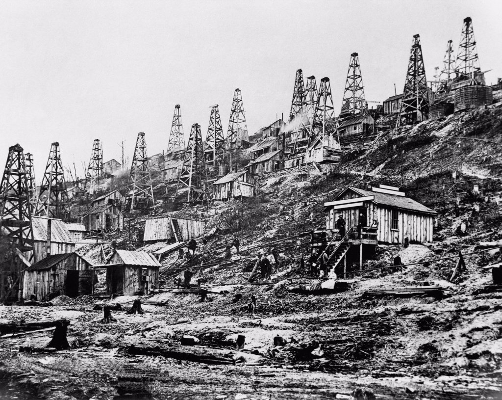 Oil rigs in an oilfield, Pioneer Run Creek, Titusville, Pennsylvania, USA, 1865 : Stock Photo